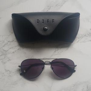 Diff Black Aviator Sunglasses